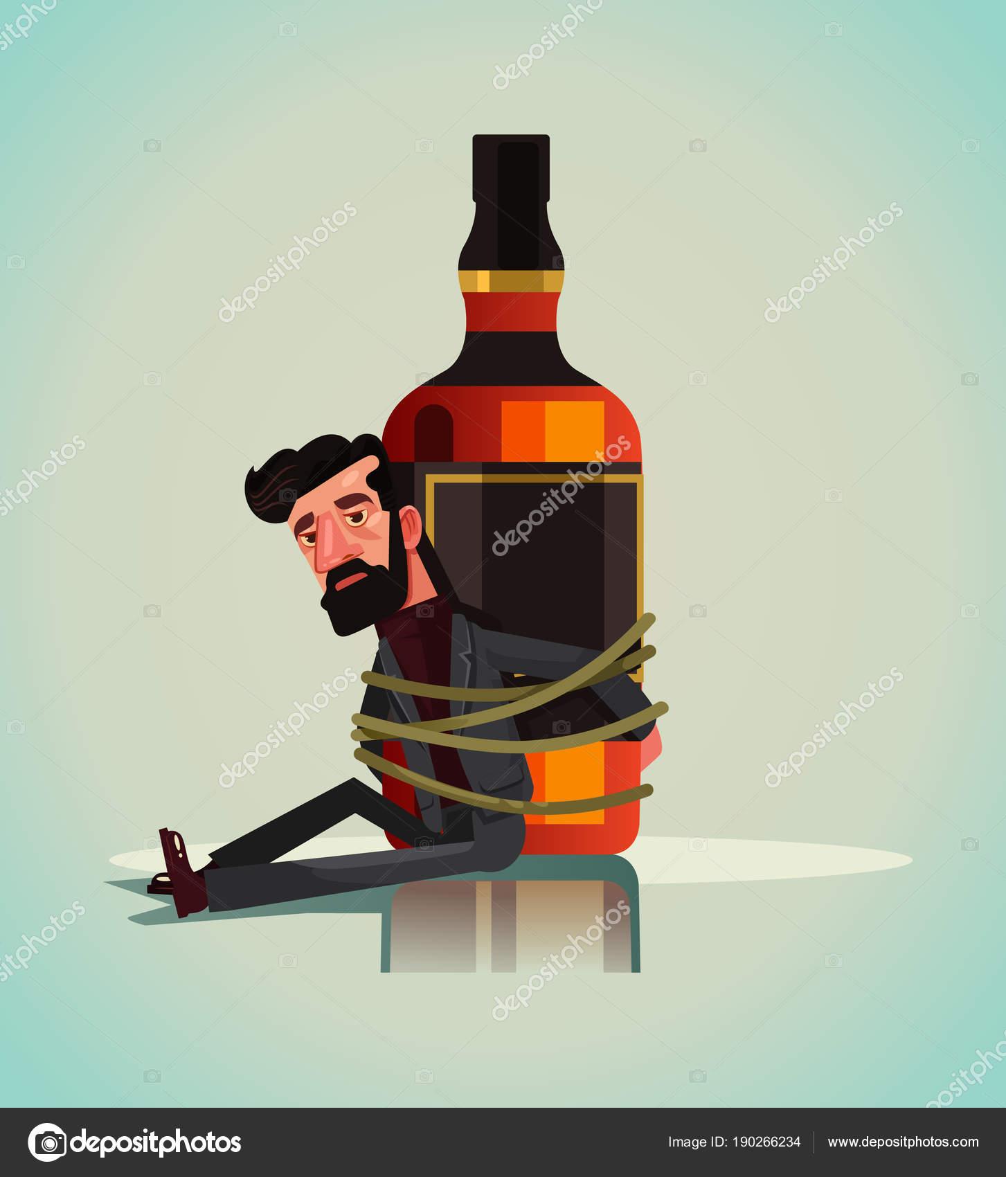 Несчастная Печальный Персонаж Алкогольных Человек Прикован ...