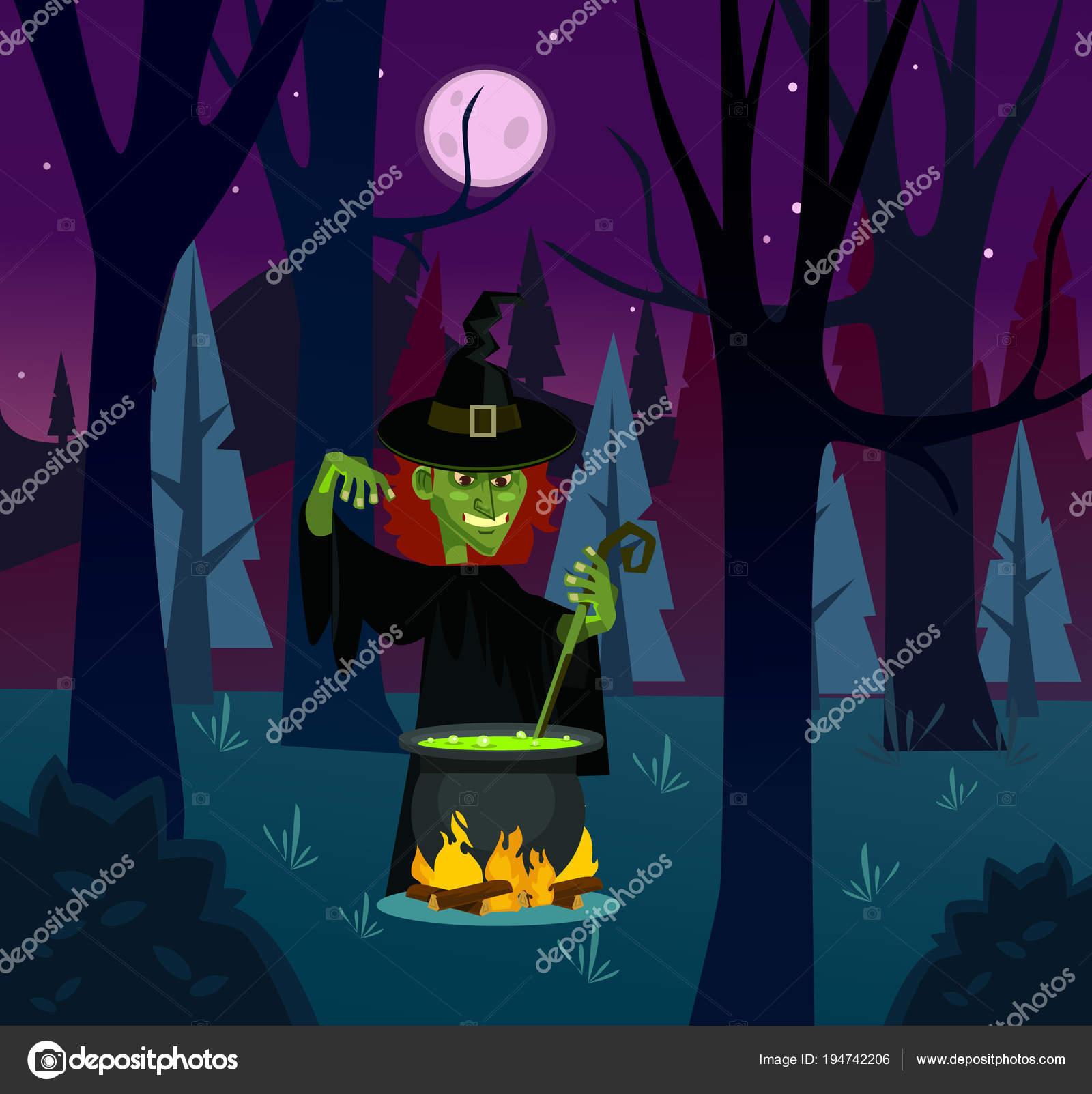 Böse Hexe Frau Charakter Trank Brauen Vektor Flache Cartoon ...