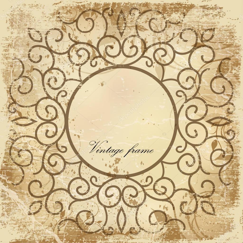 antigua hoja de papel con el marco de la vendimia — Archivo Imágenes ...