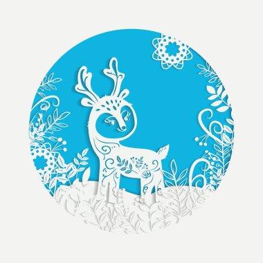 Hand drawn Christmas magic horned deer