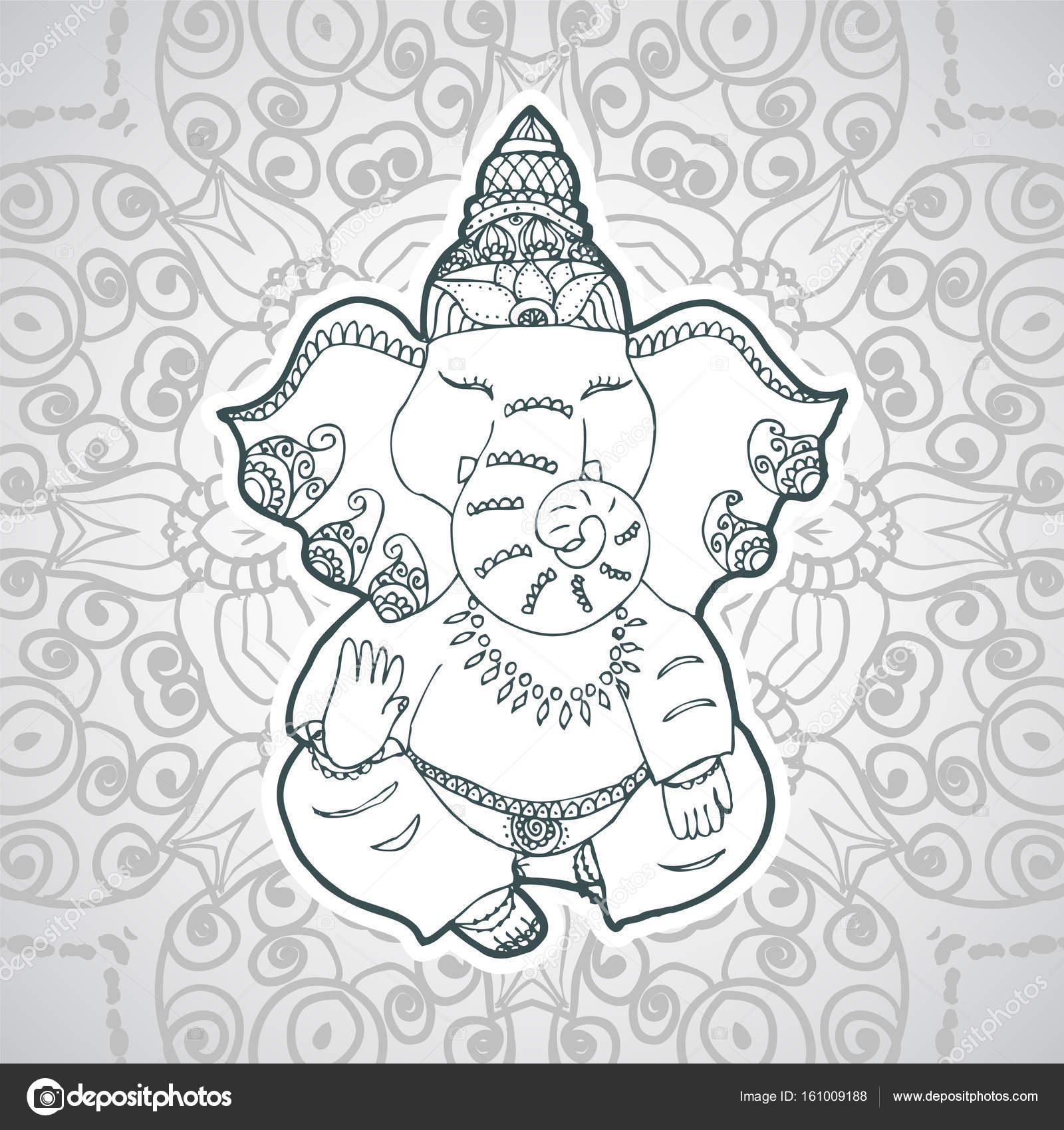 Ilustración festivo del aniversario de la India dios Ganesha ...