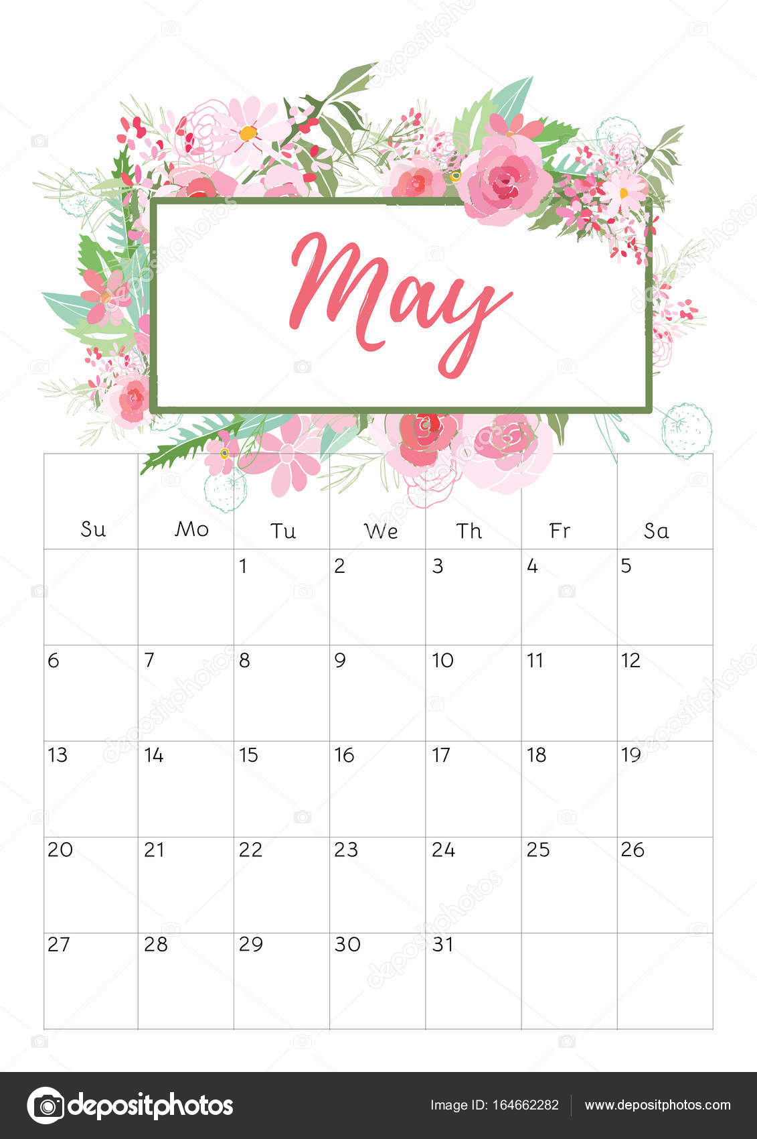 2018 Calendar Vintage : Vintage blommig kalender — stock vektor rasveta