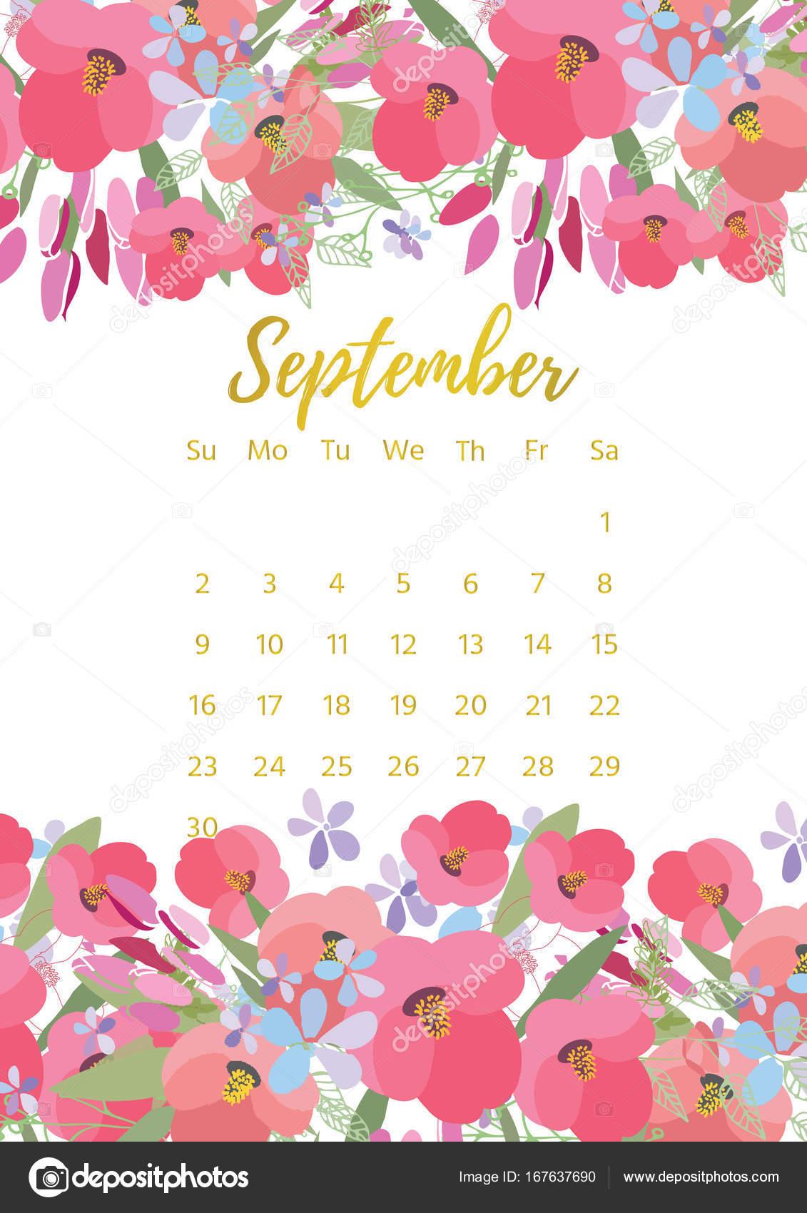 Vintage floral calendario 2018 archivo im genes for Fondo de pantalla calendario 2018