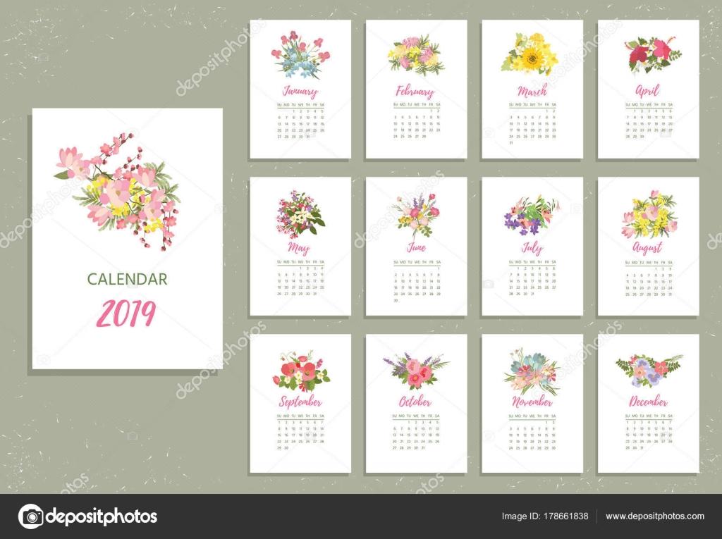 Do Druku 2019 Kalendarz Z Pretty Kolorowe Kwiaty Grafika Wektorowa
