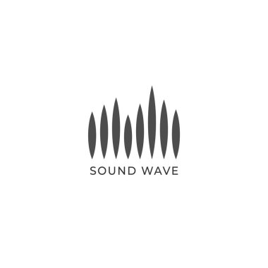 Audio Wave Spectrum Visual Logo, Sharp Spectrum Bar Design Vector,Audio Logo Template, Black and White