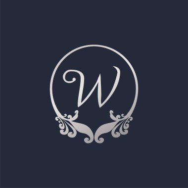 Letter W Decorative Crown Ring Alphabet Logo isolated on Navy Blue Background. Luxury Silver Initial Abjad Logo Design Template. Elegant Curl & Floral Logo Concept. EPS 10 File Project