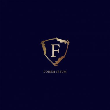 Letter F Alphabetic logo design template isolated on navy blue backgroud. Decorative floral shield sign illustration. Luxury metalic gold security logo concept.