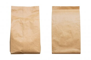 front and back view of blank brown paper bag packaging isolated on white background