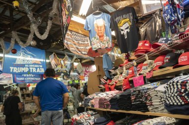 Shoppers browse items at Trump Land