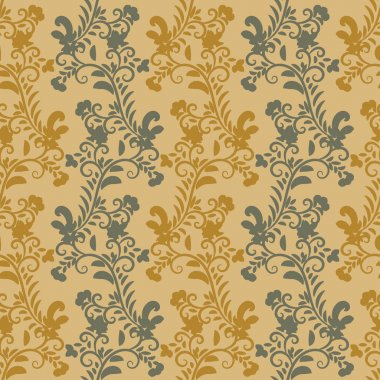 seamless vector pattern with vertical botanical stripes in mustard yellow and grey colors