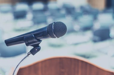 Microphone on speech podium