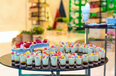 Cocktail party with variety of desserts