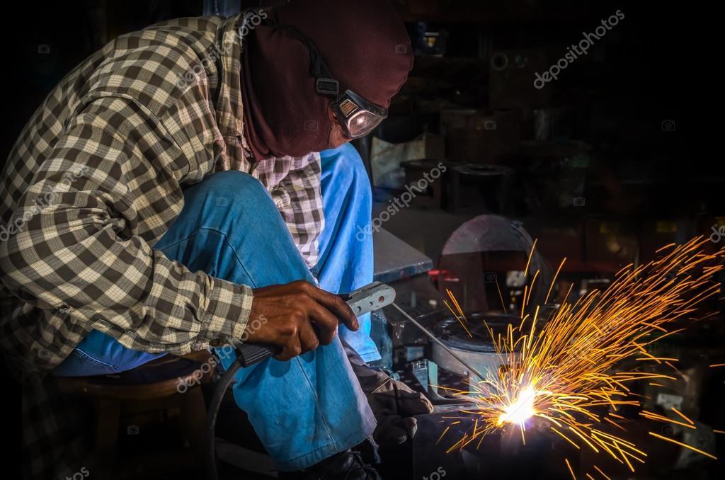 Male welder at work