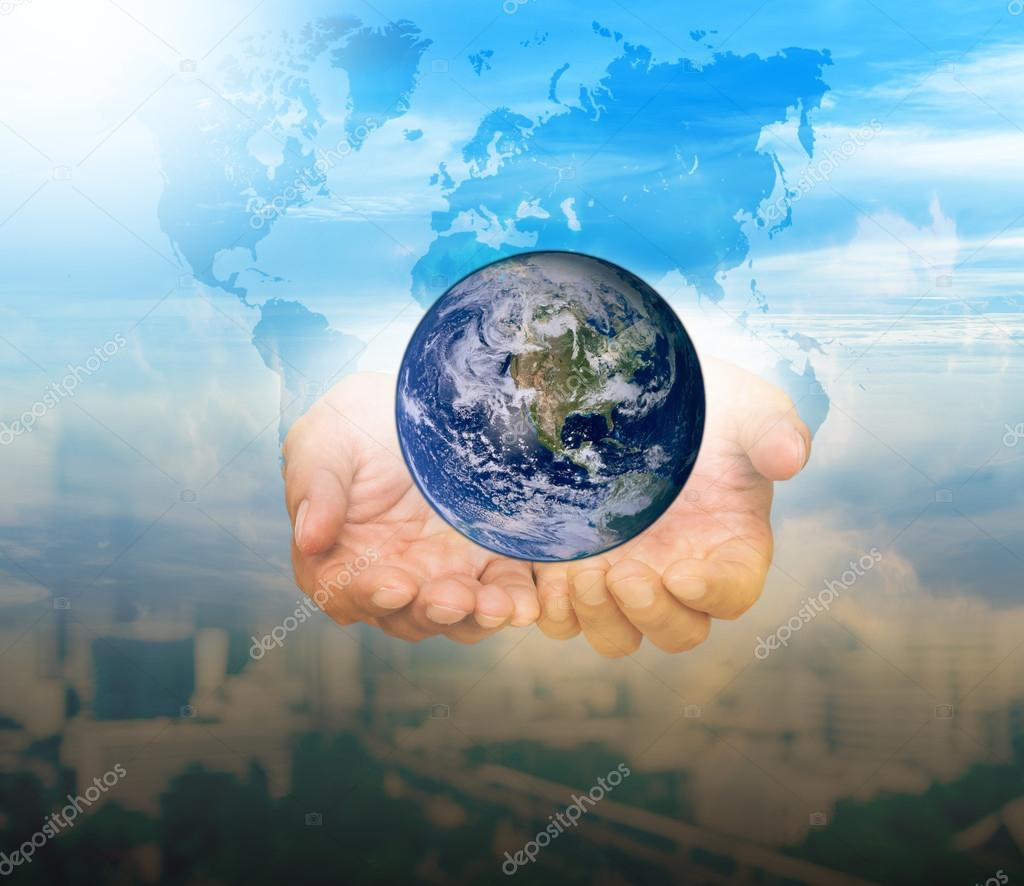 Earth and world map over hands stock photo tzido 125871180 earth and world map over hands stock photo gumiabroncs Gallery