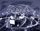 technology devise on world map