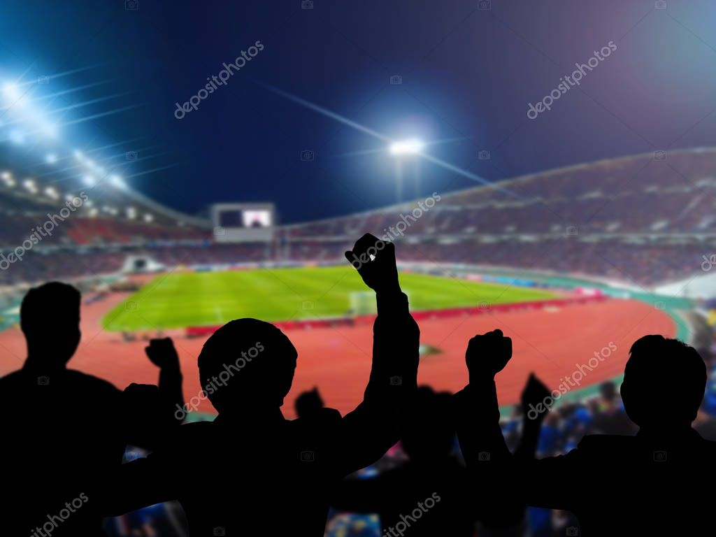 Silhouettes Of Football Fans Cheering Stock Photo C Tzido 128901432