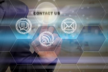 Businessman touching the Contact us icon