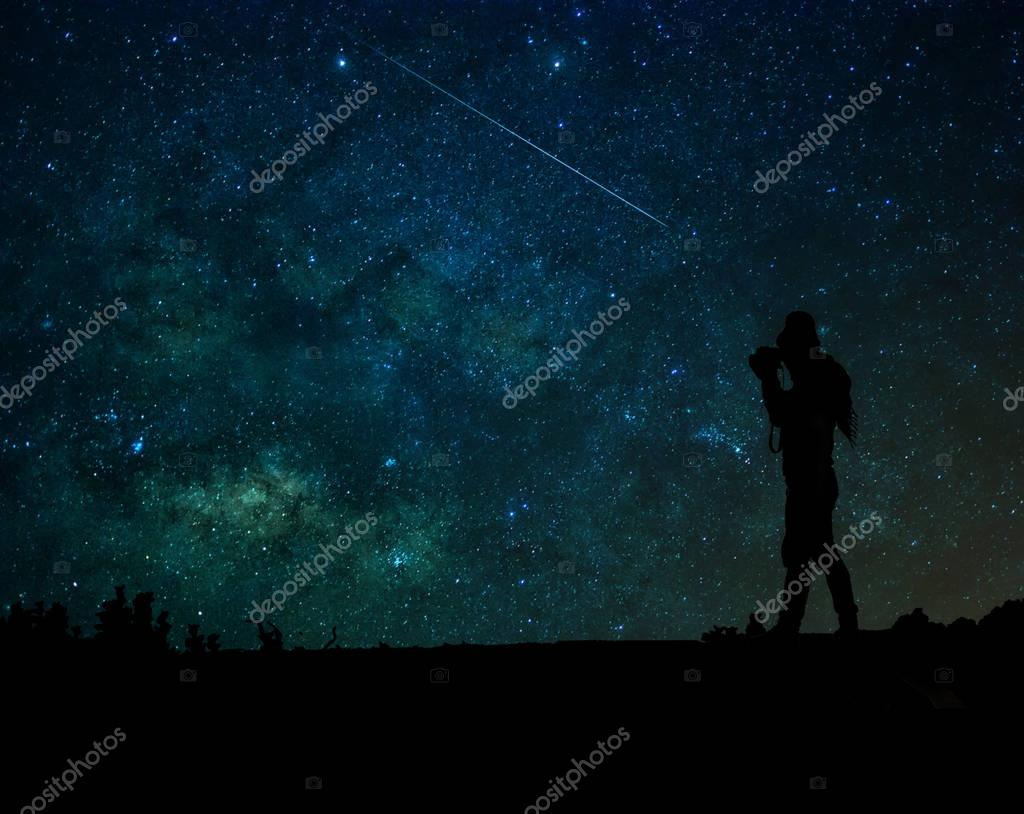 photographer  taking photo the milky way back