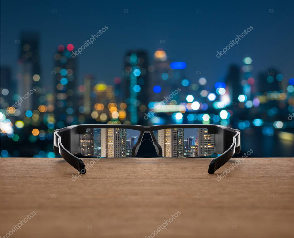 Фотообои Cityscape focused in glasses lenses