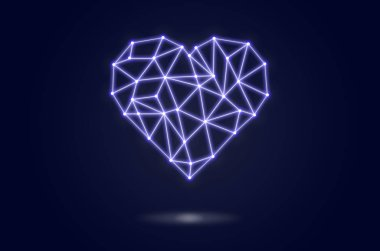 polygonal heart shape writing by lines