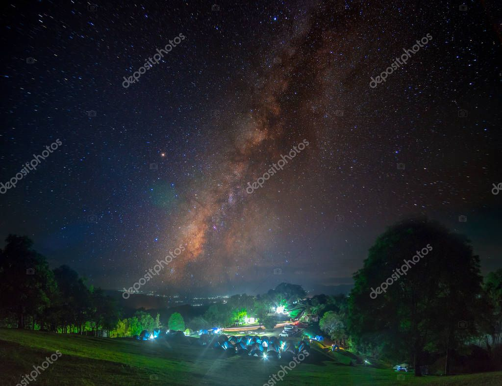 Landscape of Milky way in mountains