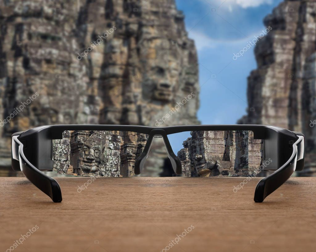Stone face focused in glasses lenses