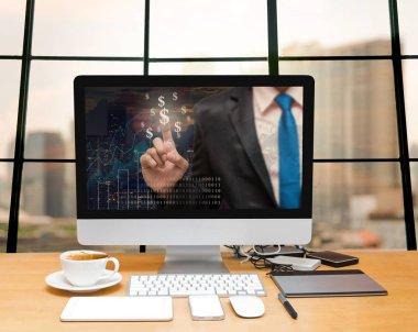 Workspace with computer desktop