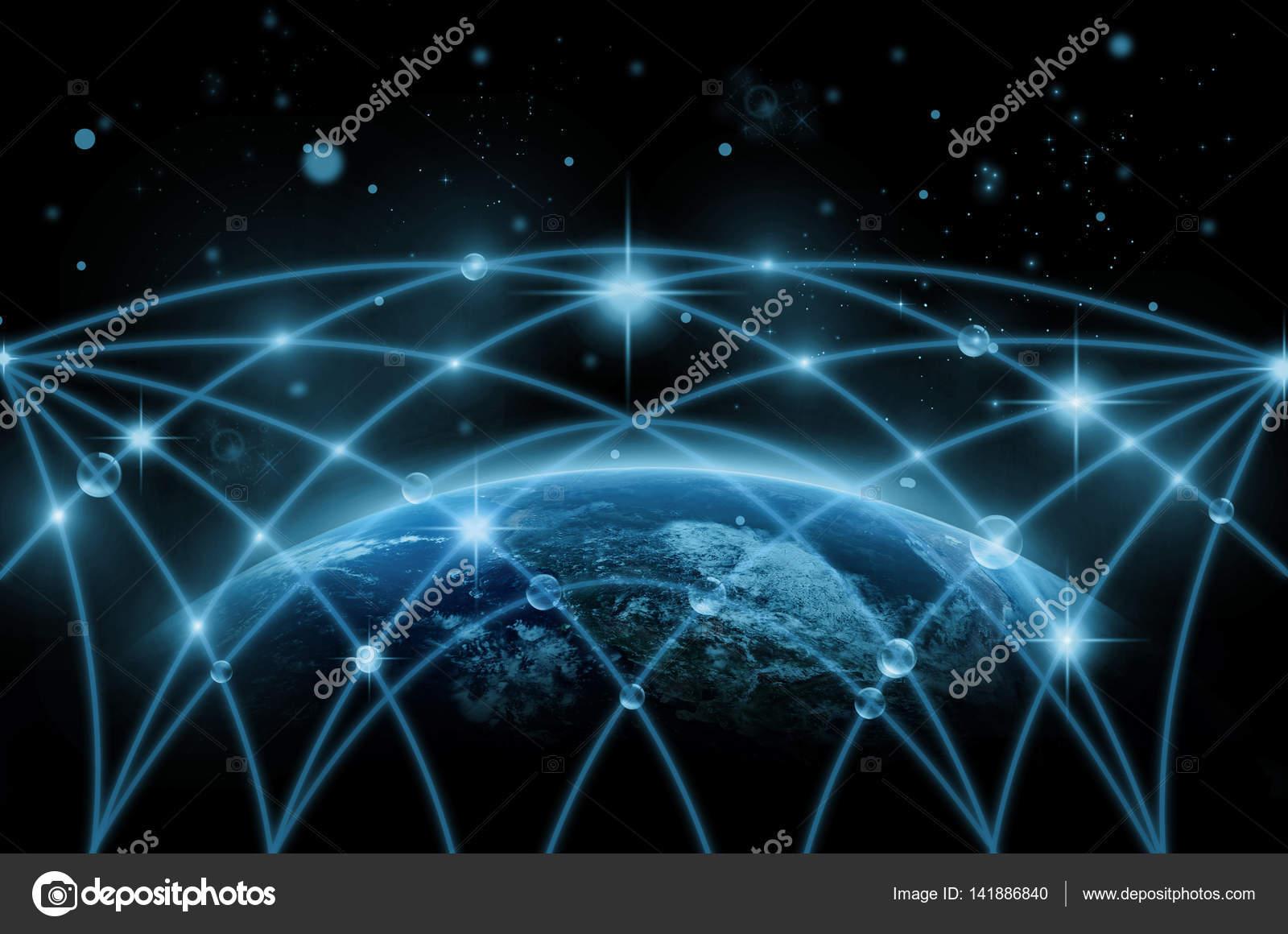 teil der erde mit netzwerkleitung — stockfoto © tzido #141886840