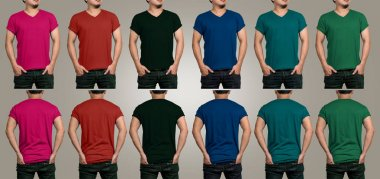 Various color of T-shirt mockup
