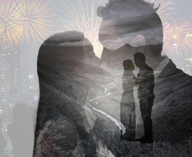 Double exposure of loving couple