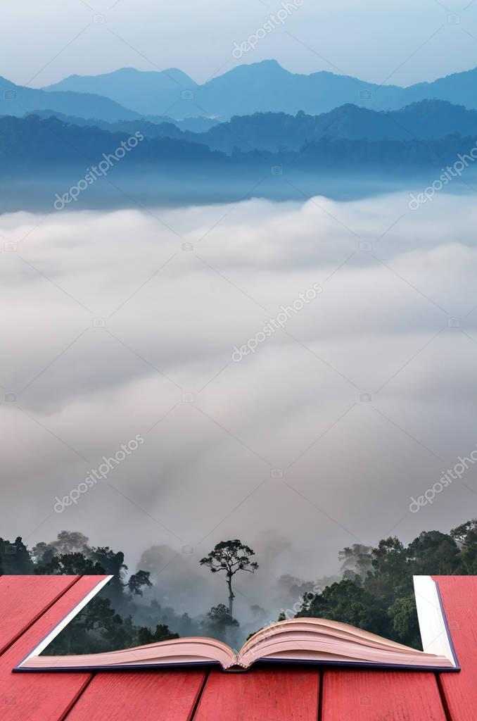 Conceptual book image of mountain range
