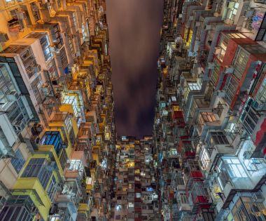 Hong Kong Old apartments at night time