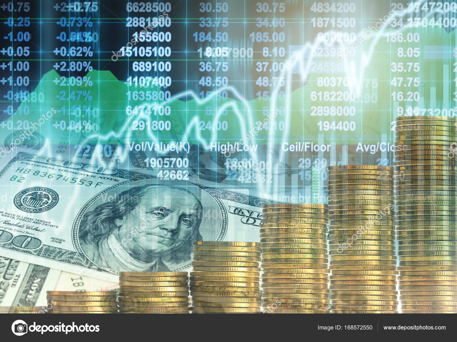 Altın Sikke Ve Amerikan Doları Yığını Stok Foto Tzido 168572550