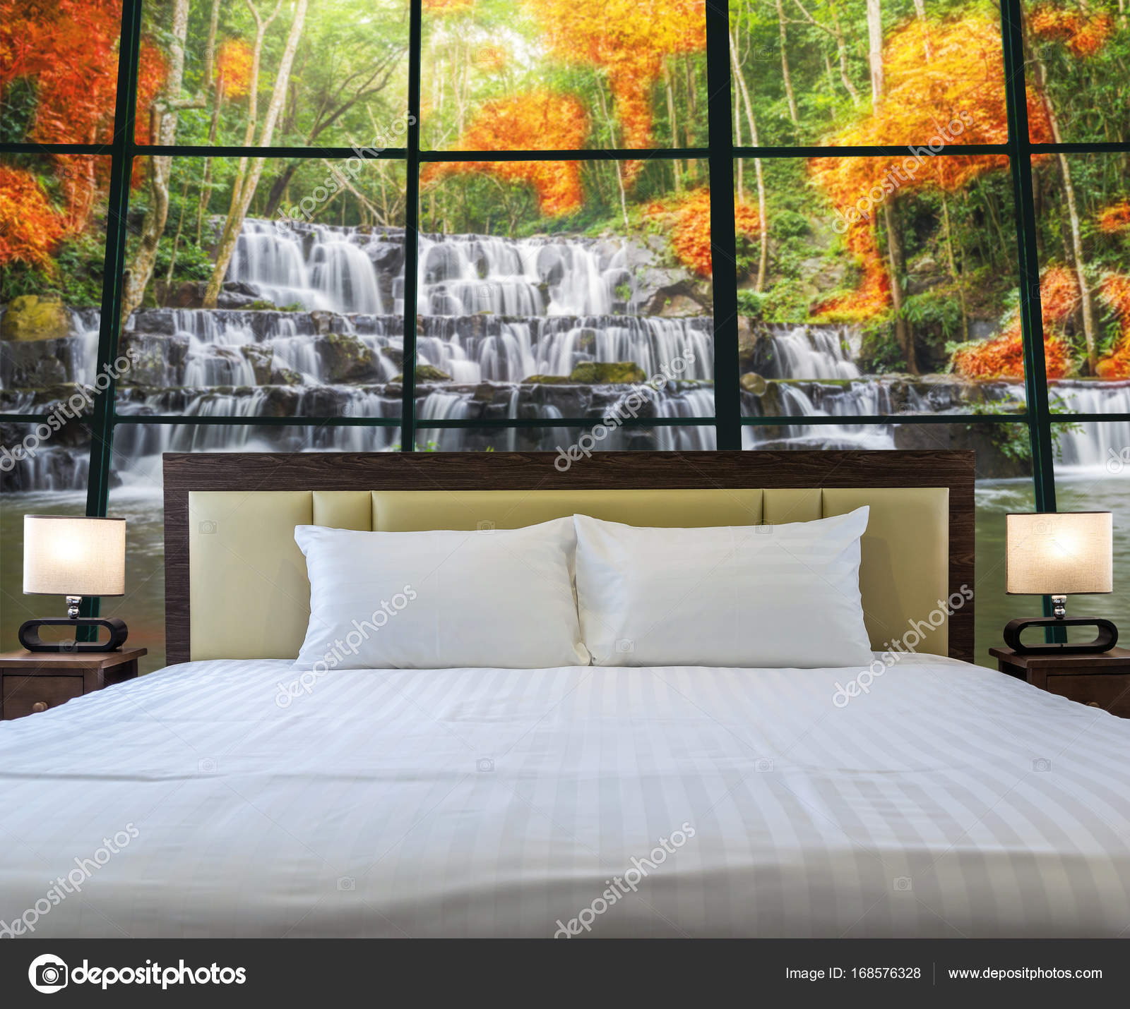 Bedroom With Window Glass With Waterfall U2014 Stock Photo