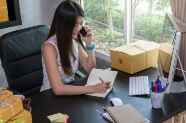 Young asian owner business woman
