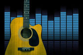 Fotografie Guitar over the sound waves equalizer background, musical instrument concept