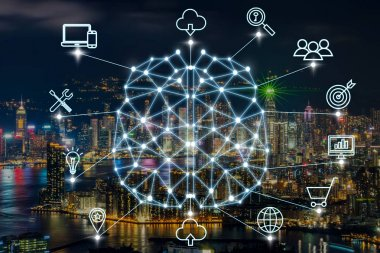 Polygonal brain shape of an artificial intelligence with various icon of smart city Internet of Things Technology over businessman using mobile with cityscape background