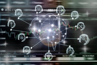Polygonal brain shape of an artificial intelligence with various icon of smart city Internet of Things Technology over Cryptocurrency Bitcoin exchange trading screen, AI and business IOT concept