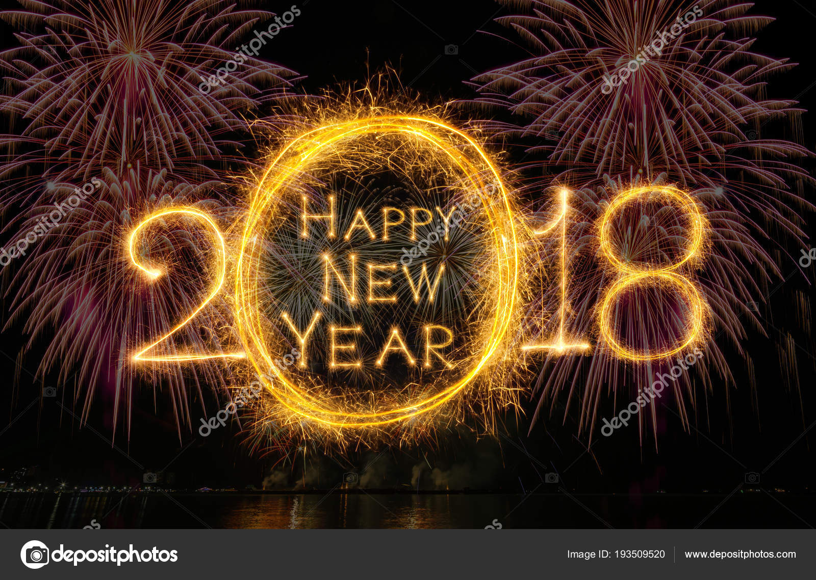 happy new year 2018 written sparkle firework fireworks dark background stock photo