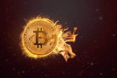 Bitcoin mockup ateşte koyu siyah arka plan, blok zinciri teknoloji Kripto kavramı, iş ve investoment kavramı, yüksek riskli
