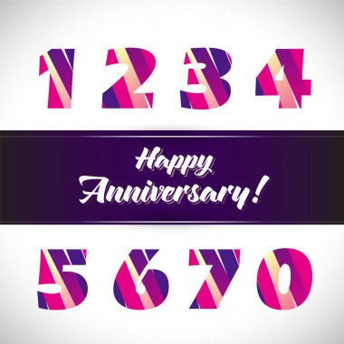 Vector set of anniversary signs, symbols.