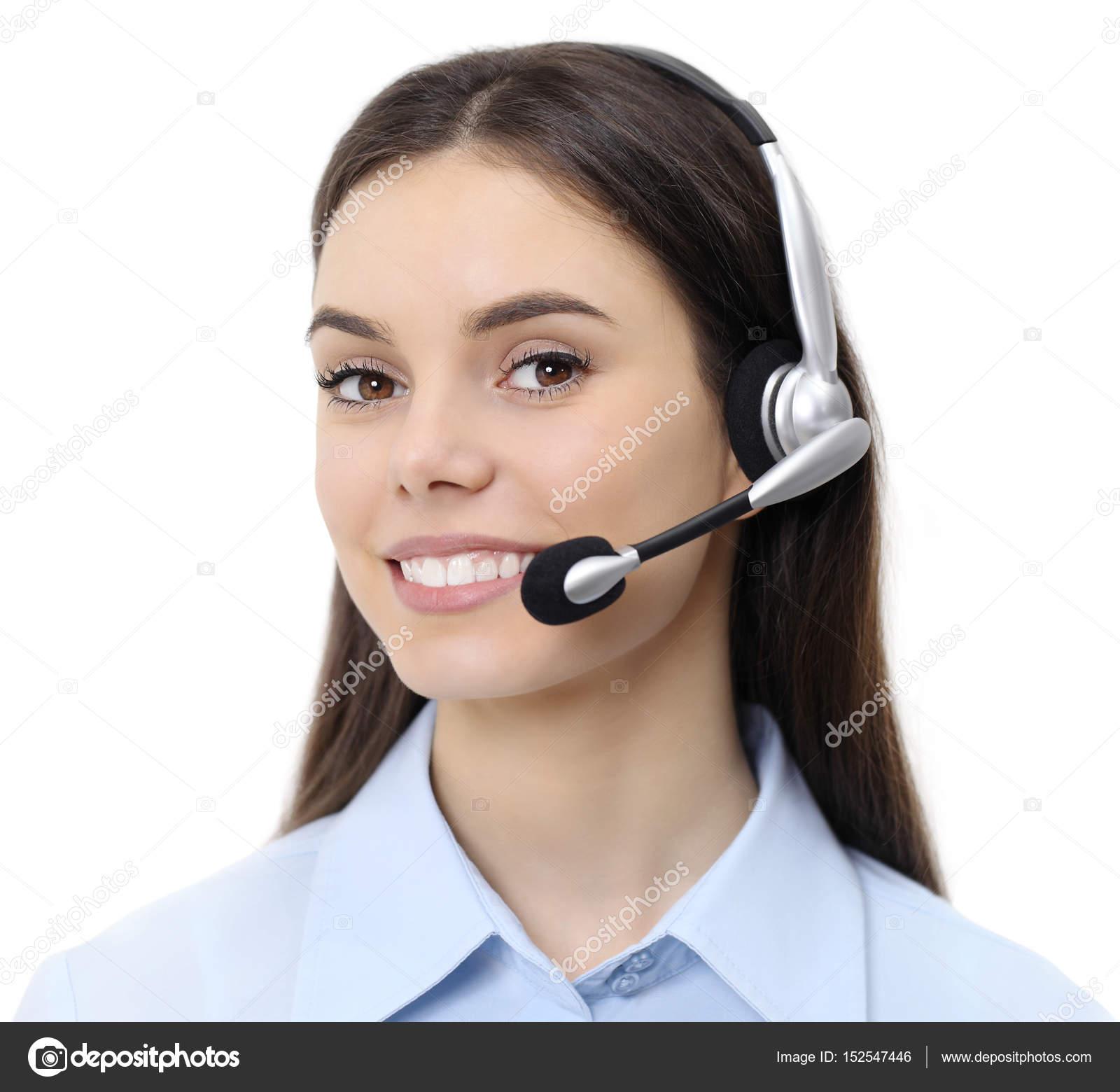 Contattaci, donna di operatore di servizio di cliente con auricolare ...