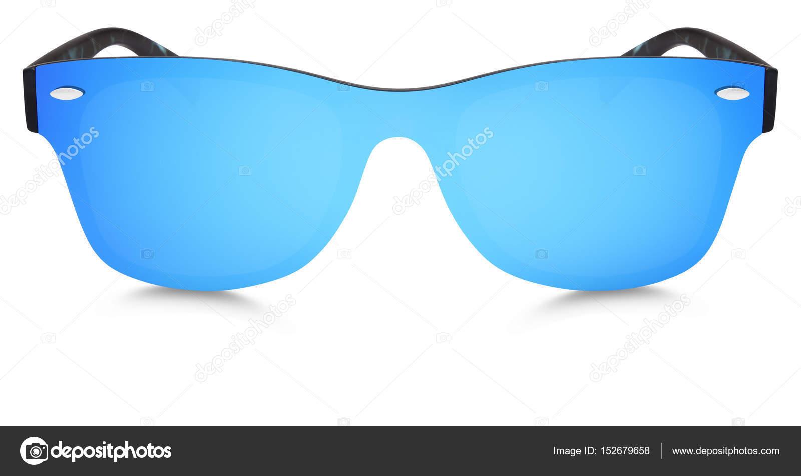 cb90341335 Καθρέφτης στίγματα γυαλιά ηλίου μπλε φακούς απομονωθεί σε λευκό φόντο —  Εικόνα από ...