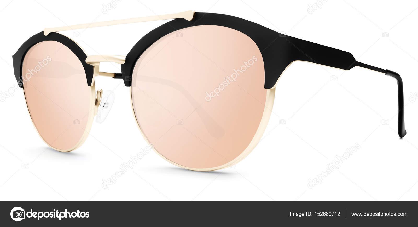 5150f6cda72b Gafas de sol de oro y negros rosa lentes espejo aisladas en blanco — Fotos  de