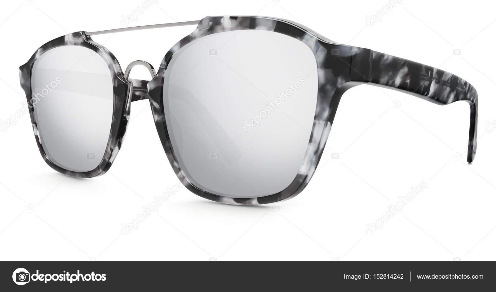 abfb53d351 Καθρέφτης στίγματα γυαλιά ηλίου γκρι φακοί απομονωθεί σε λευκό φόντο —  Εικόνα από amedeoemaja