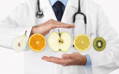 healthy food diet concept, Hands of nutritionist doctor with fru