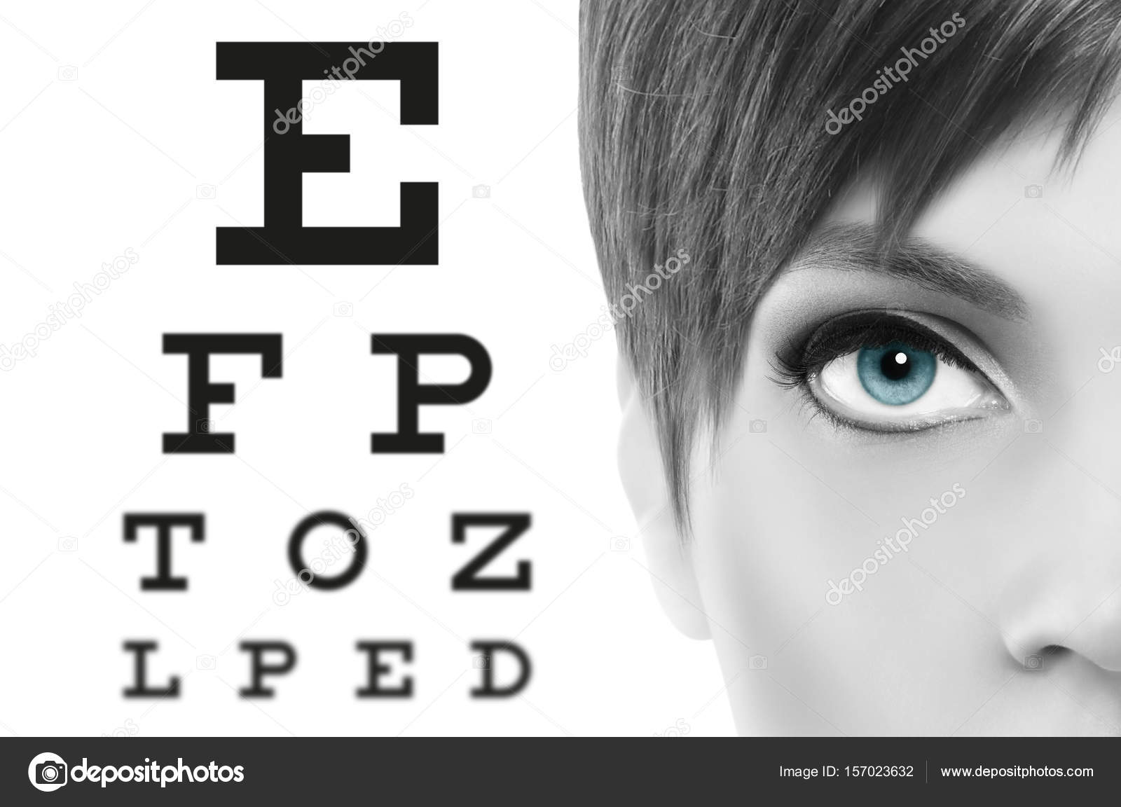 Blue eyes close up on visual test chart eyesight and eye examin blue eyes close up on visual test chart eyesight and eye examination concept in white background photo by amedeoemaja geenschuldenfo Gallery