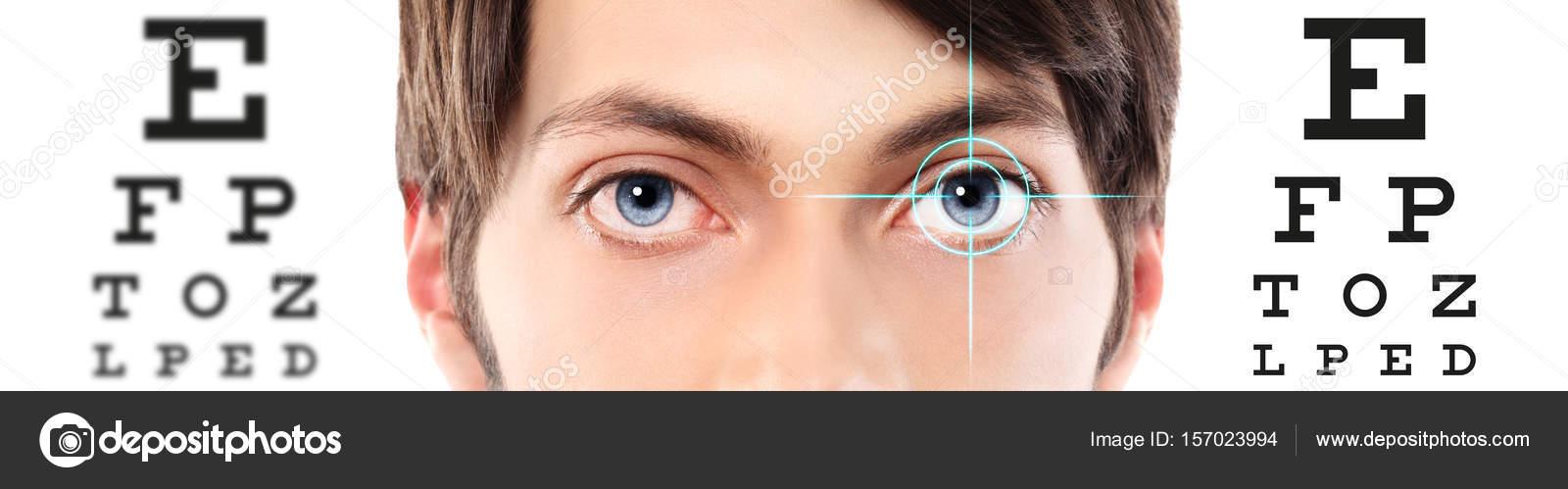 Eyes close up on visual test chart eyesight and eye examination eyes close up on visual test chart eyesight and eye examination stock photo geenschuldenfo Gallery