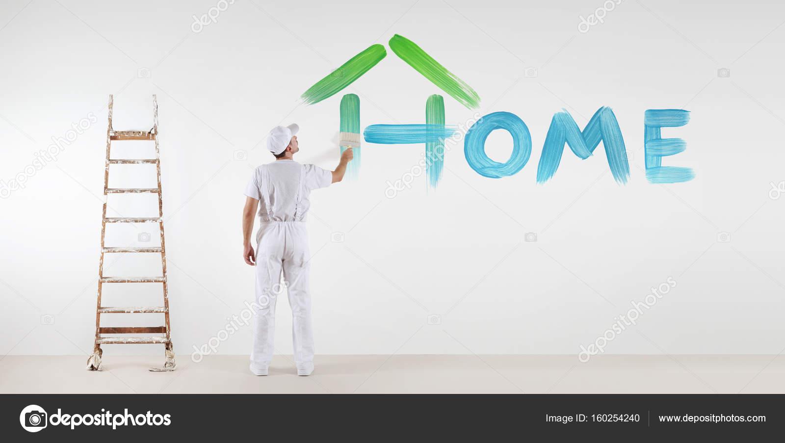 Maler-Mann mit Farbe Pinsel malen nach Hause Text Wort isoliert auf ...