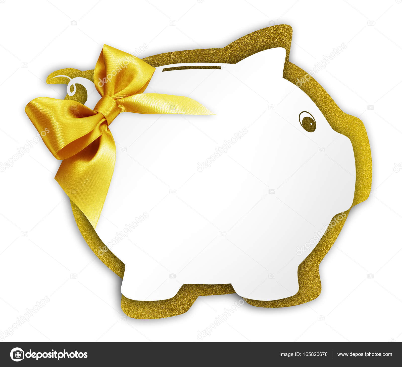 Gift Card Label In The Shape Of A Piggy Bank With Golden Ribbon